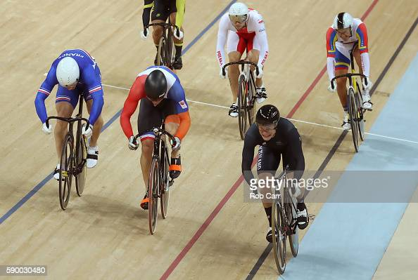 Sam Webster of New Zealand leads the pack of Francois Pervis of France Callum Skinner of Great Britain Azizulhasni Awang of Malaysia Matthijs Buchli...