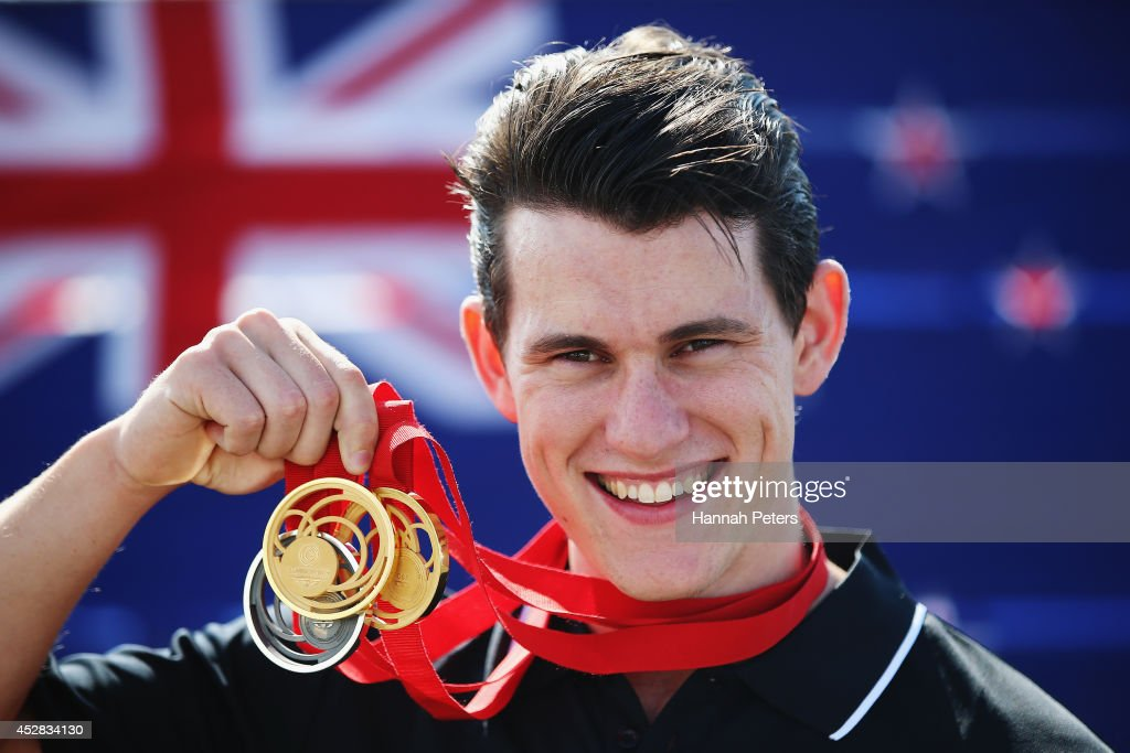 Sam Webster of the New Zealand track cycling team poses with his medals during day five of the Glasgow 2014 Commonwealth Games on July 28, 2014 in Glasgow, United Kingdom.