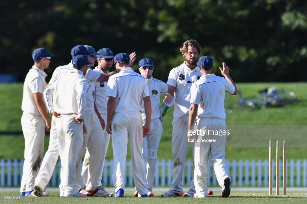 Sam Wells of Otago is congratulated by team mates after dismissing Ken McClure of Canterbury during the Plunket Shield match between Canterbury and Otago on March 15, 2017 in Christchurch, New Zealand.