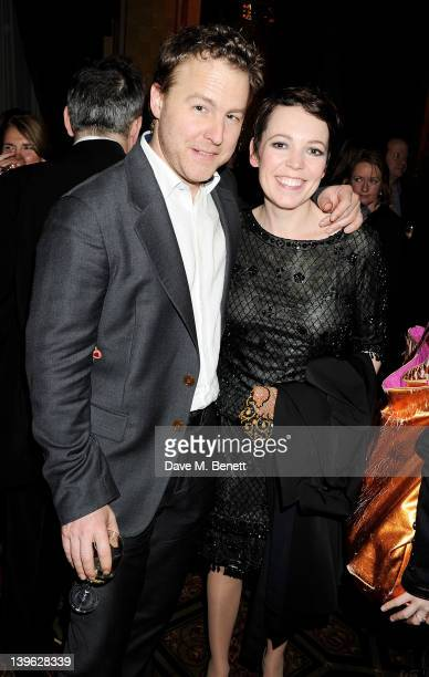 Sam West and Olivia Colman attend an after party celebrating the Gala Performance of Noel Coward's 'Hay Fever' at the Royal Horseguards Hotel on...
