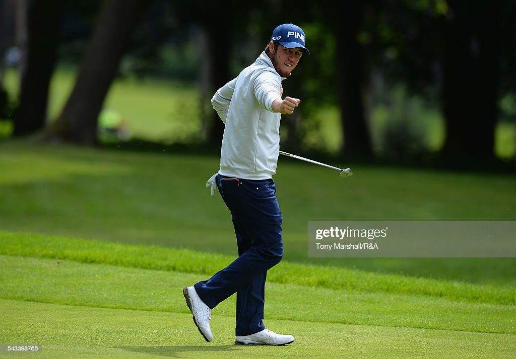Sam Whitehead of Woburn celebrates saving par on the 16th green during the Open Championship Qualifying - Woburn at Woburn Golf Club on June 28, 2016 in Woburn, England.
