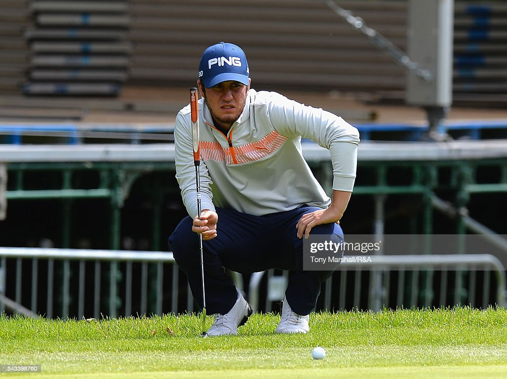 Sam Whitehead of Woburn lines up his putt on the 18th green during the Open Championship Qualifying - Woburn at Woburn Golf Club on June 28, 2016 in Woburn, England.