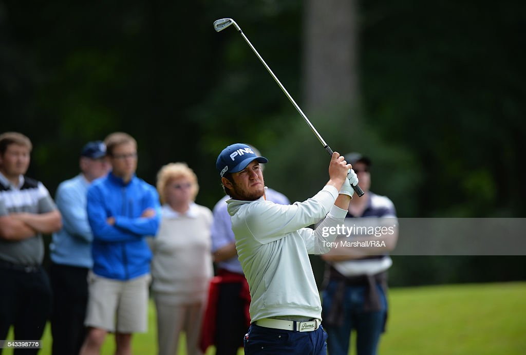 Sam Whitehead of Woburn plays his first shot on the 17th tee during the Open Championship Qualifying - Woburn at Woburn Golf Club on June 28, 2016 in Woburn, England.