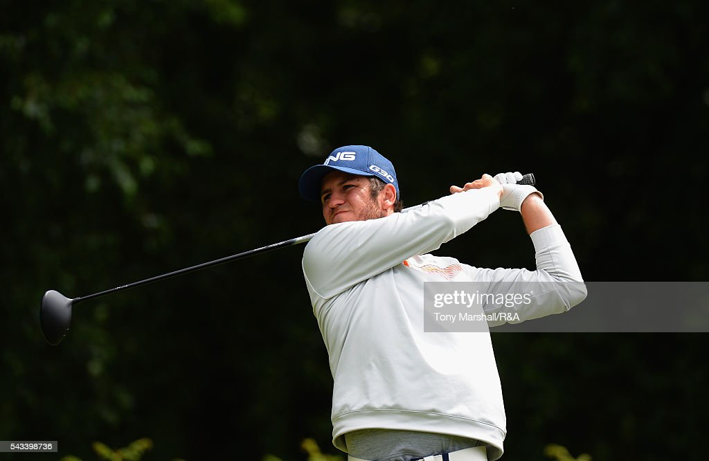 Sam Whitehead of Woburn plays his first shot on the 18th tee during the Open Championship Qualifying - Woburn at Woburn Golf Club on June 28, 2016 in Woburn, England.