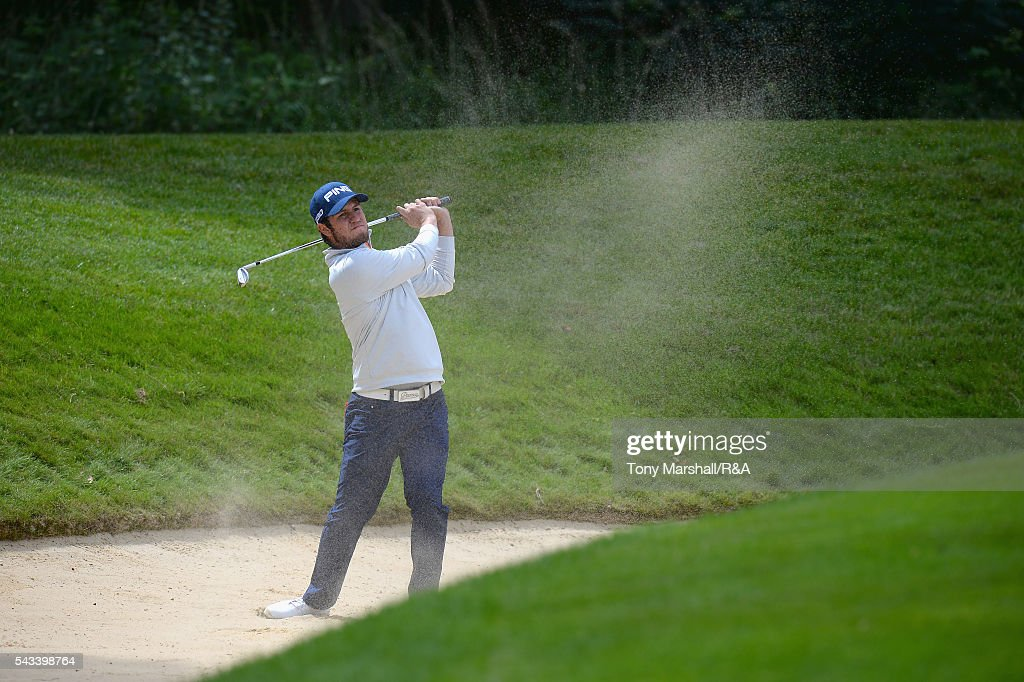 Sam Whitehead of Woburn plays out of a bunker on to the 16th green during the Open Championship Qualifying - Woburn at Woburn Golf Club on June 28, 2016 in Woburn, England.