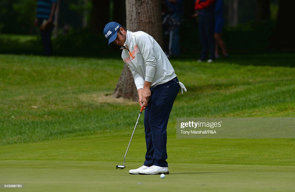 Sam Whitehead of Woburn putts on the 17th green during the Open Championship Qualifying - Woburn at Woburn Golf Club on June 28, 2016 in Woburn, England.