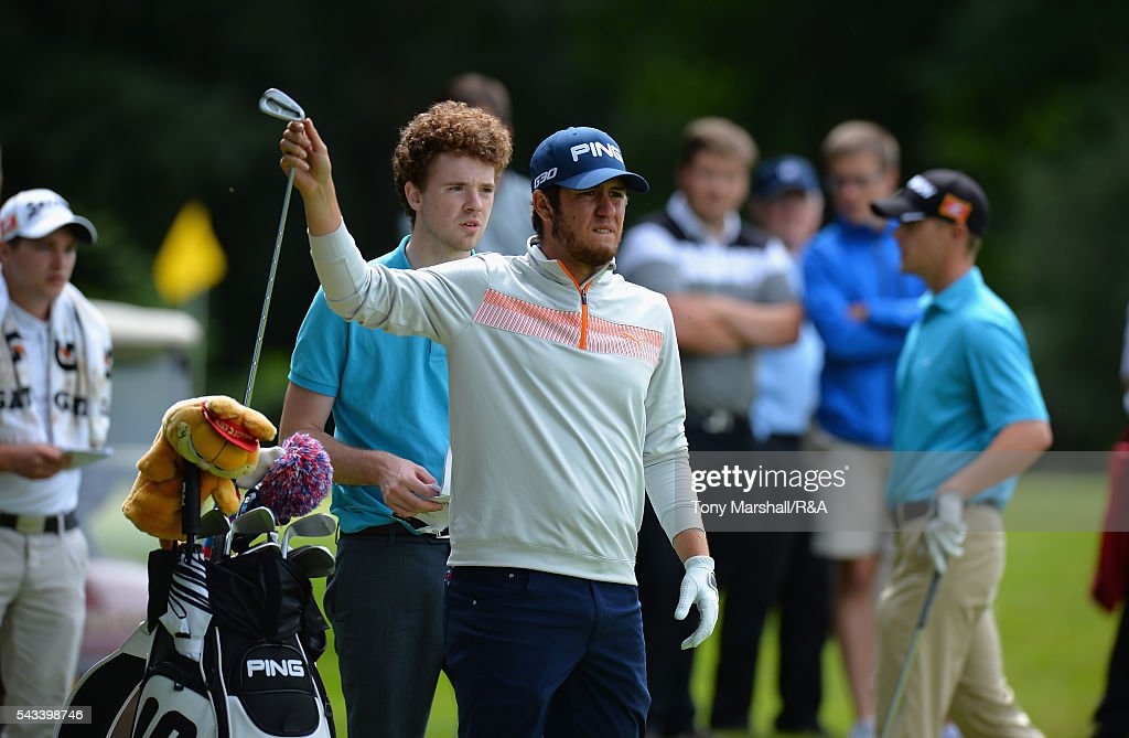 Sam Whitehead of Woburn selects his club for his first shot on the 17th tee during the Open Championship Qualifying - Woburn at Woburn Golf Club on June 28, 2016 in Woburn, England.
