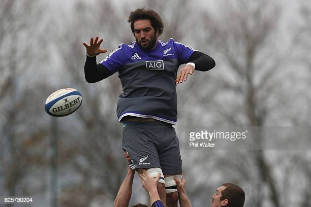 Sam Whitelock of the All Blacks clears the ball from the lineout during the New Zealand All Blacks captains run at the Suresnois Rugby Club on...
