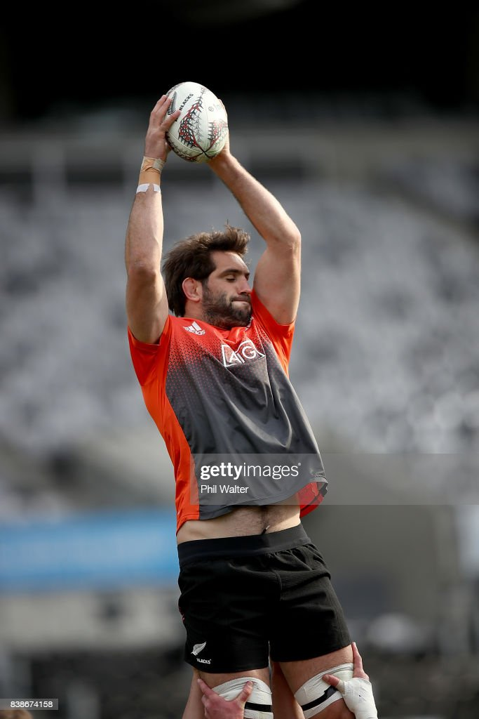 Sam Whitelock of the All Blacks during the New Zealand All Blacks Captain's Run at Forsyth Barr Stadium on August 25, 2017 in Dunedin, New Zealand.