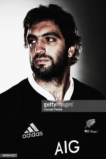 Sam Whitelock of the All Blacks poses during a New Zealand All Blacks portrait session on May 26 2014 in Wellington New Zealand