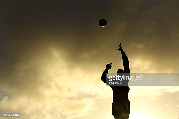 Sam Whitelock of the All Blacks practices a lineout during a New Zealand All Blacks training session at Trusts Stadium on July 8 2010 in Auckland New...