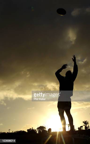 Sam Whitelock of the All Blacks practices the lineout during a New Zealand All Blacks training session at Trusts Stadium on July 8 2010 in Auckland...