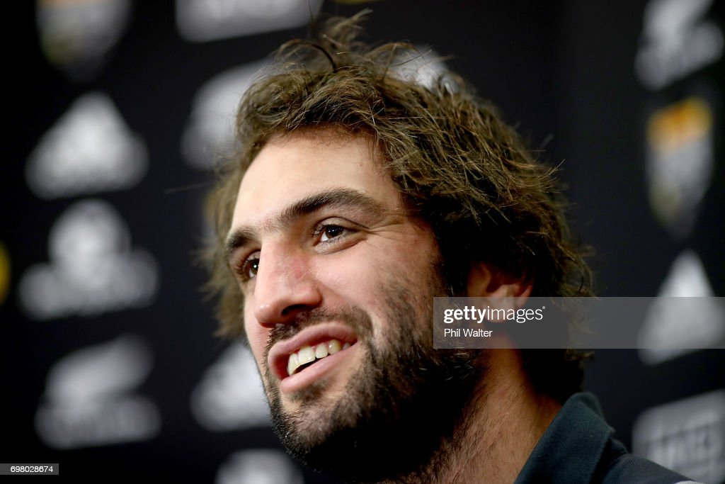 Sam Whitelock of the All Blacks speaks to the media during a New Zealand All Blacks press conference at the Heritage Hotel on June 20, 2017 in Auckland, New Zealand.