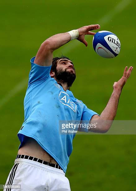 Sam Whitelock of the All Blacks takes the ball in the lineout during a New Zealand All Blacks training session at the Rugby Club Suresnois on...