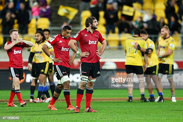 Sam Whitelock of the Crusaders looks on in disappointment after the final whistle during the round 12 Super Rugby match between the Hurricanes and...