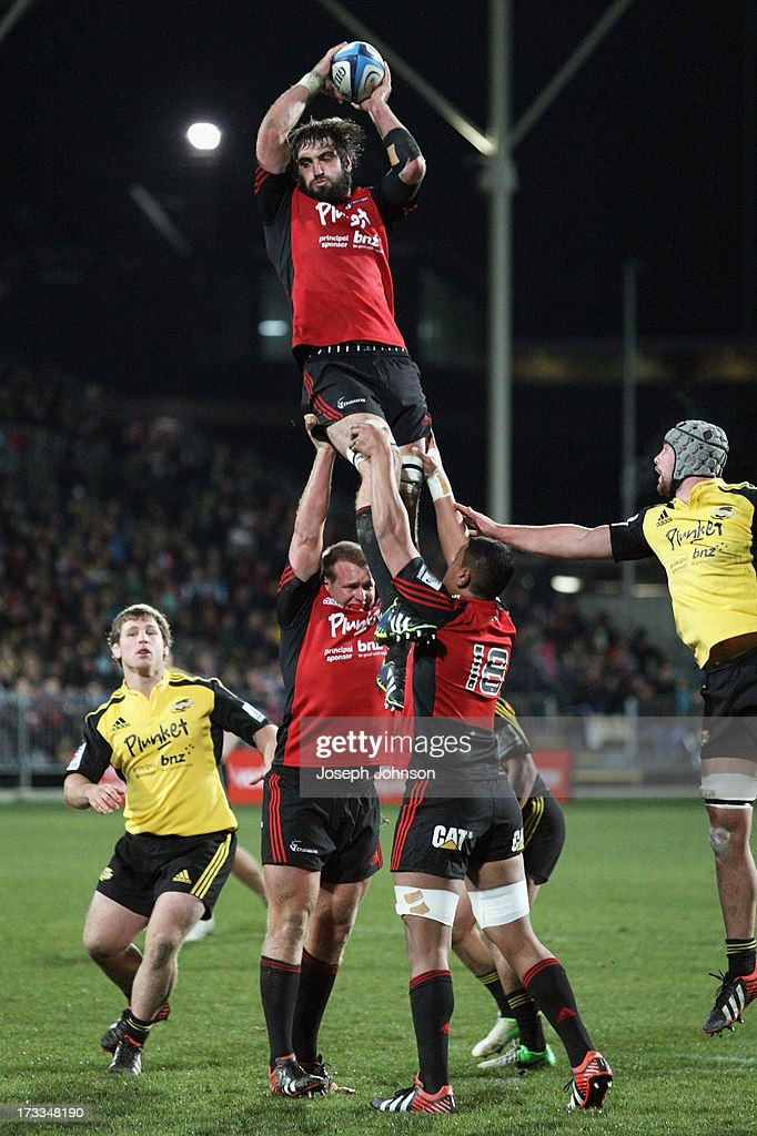 <a gi-track='captionPersonalityLinkClicked' href=/galleries/search?phrase=Sam+Whitelock&family=editorial&specificpeople=6070892 ng-click='$event.stopPropagation()'>Sam Whitelock</a> of the Crusaders wins a lineout during the round 20 Super Rugby match between the Crusaders and the Hurricanes at AMI Stadium on July 12, 2013 in Christchurch, New Zealand.