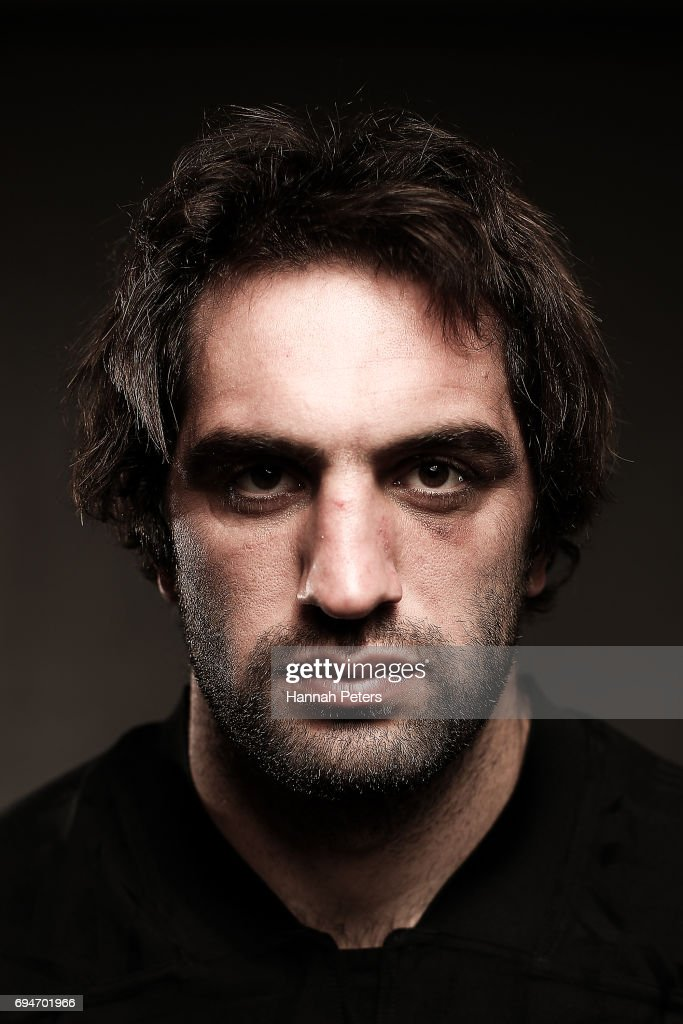 Sam Whitelock poses for a portrait during the New Zealand All Blacks Headshots Session on June 11, 2017 in Auckland, New Zealand.