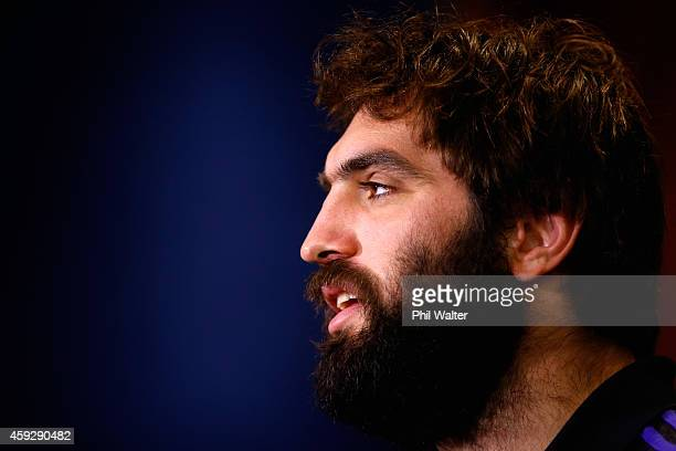 Sam Whitelock speaks to the media during the New Zealand All Blacks media session at the Hilton Hotel on November 20 2014 in Cardiff Wales