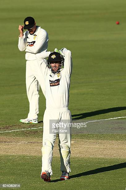 Sam Whiteman and Michael Klinger of Western Australia react after an attempted run out results in over throws during day two of the Sheffield Shield...
