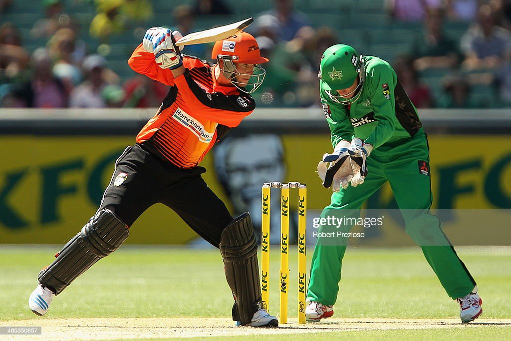 Sam Whiteman of the Scorchers plays a shot during the Big Bash League match between the Melbourne Stars and the Perth Scorchers at Melbourne Cricket Ground on January 27, 2014 in Melbourne, Australia.