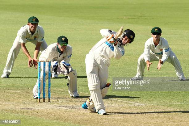 Sam Whiteman of the Warriors bats during day two of the Sheffield Shield match between the Western Australia Warriors and Tasmania Tigers at the WACA...