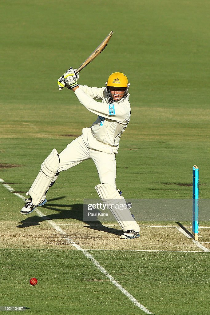 Sam Whiteman of the Warriors hits out during day three of the Sheffield Shield match between the Western Australia Warriors and the Tasmania Tigers at WACA on February 23, 2013 in Perth, Australia.
