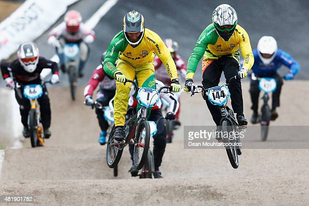 Sam Willoughby of Australia and Anthony Dean of Australia compete in the Mens Elite Qualifying motos during day 5 of the UCI BMX World Championships...
