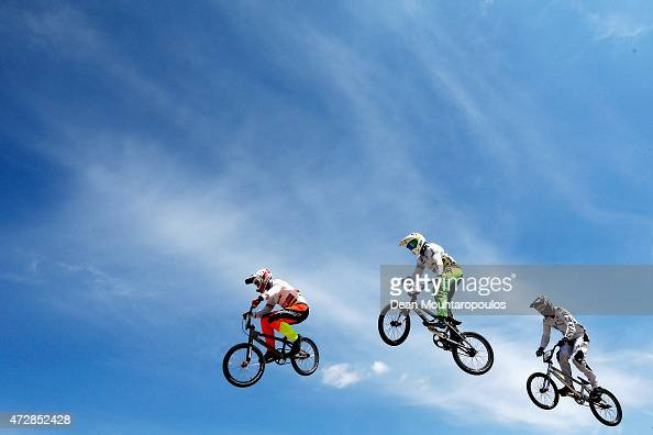 Sam Willoughby of Australia Anthony Dean of Australia and Daniel Franks of New Zealand compete in Heat 3 of the Mens Elite UCI BMX Supercross World...