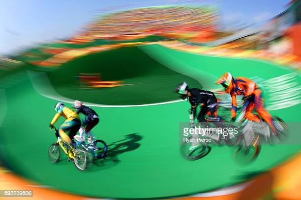 Sam Willoughby of Australia Connor Fields of the United States Trent Jones of New Zealand and Twan van Gendt of the Netherlands compete during the...