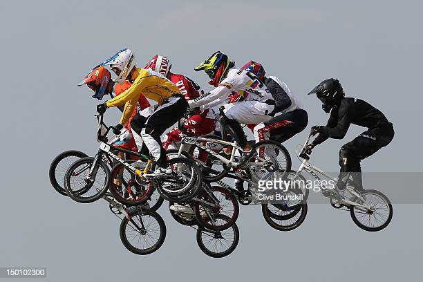 Sam Willoughby of Australia jumps with the field as they race in the Men's BMX Cycling Semi Finals on Day 14 of the London 2012 Olympic Games at the...