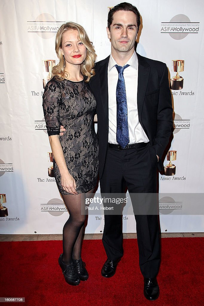 Sam Witwer (R) and guest arrive at the 40th Annual Annie Awards held at Royce Hall on the UCLA Campus on February 2, 2013 in Westwood, California.