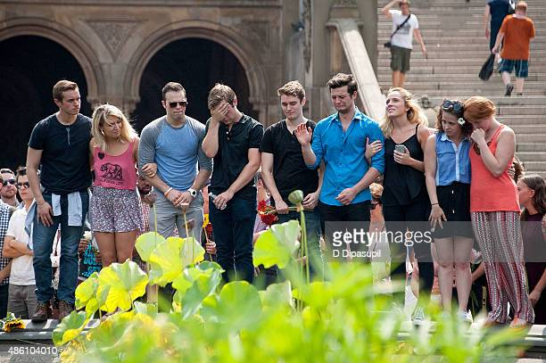 Sam Wolf Brandyn Day and guests attend a memorial for Kyle JeanBaptiste at Bethesda Fountain in Central Park on August 31 2015 in New York City...