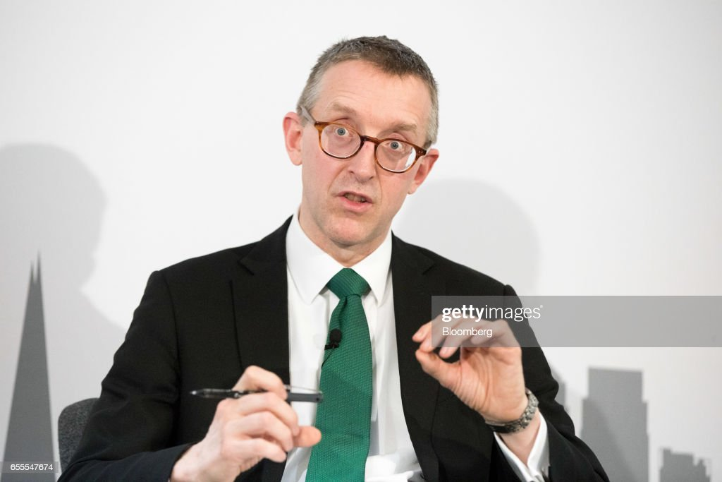 Sam Woods, deputy governor for prudential regulation at the Bank of England (BOE) and chief executive officer of the Prudential Regulation Authority (PRA), gestures as he speaks at the London Business School in London, U.K., on Monday, March 20, 2017. Woods, said concept of a risk margin is a sensible one, but its current implementation in Solvency II is flawed. Photographer: Jason Alden/Bloomberg via Getty Images