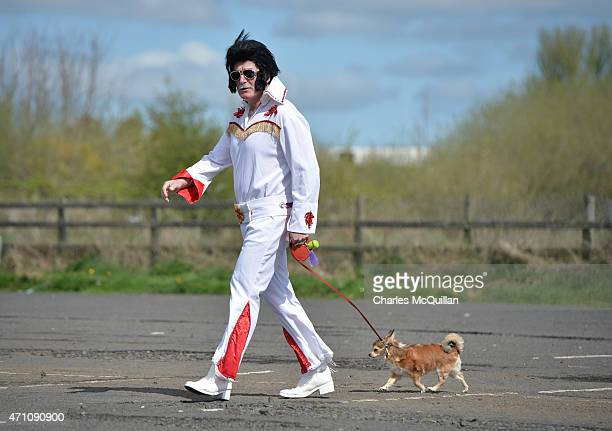 Sam Woods holds a leash to his dog during an the attempt to break the Guinness Book of World Record for the largest gathering of Elvis Presley...