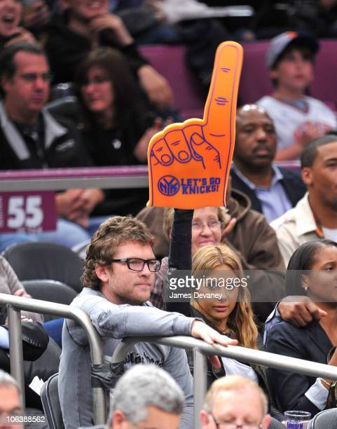 Sam Worthington and girlfriend Natalie Mark attend the Trail Blazers vs NY Knicks Game at Madison Square Garden on October 30 2010 in New York City