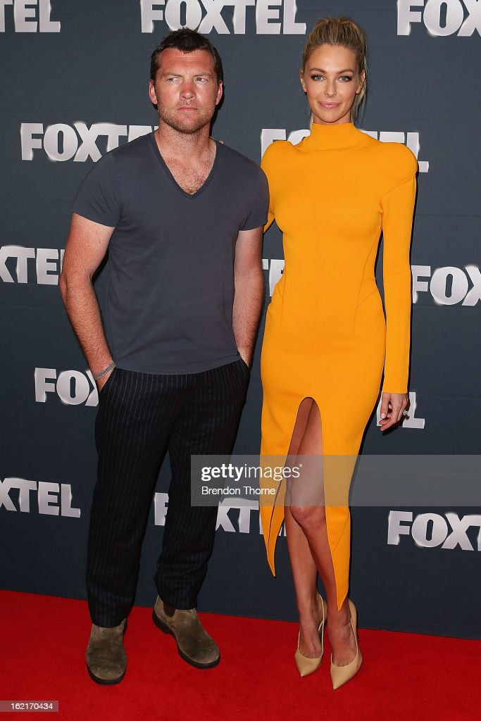 Sam Worthington and Jennifer Hawkins attend the 2013 Foxtel Launch at Fox Studios on February 20, 2013 in Sydney, Australia.