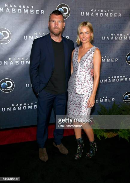 Sam Worthington and Lara Bingle attend Discovery's 'Manhunt Unabomber' World Premiere at the Appel Room at Jazz at Lincoln Center's Frederick P Rose...