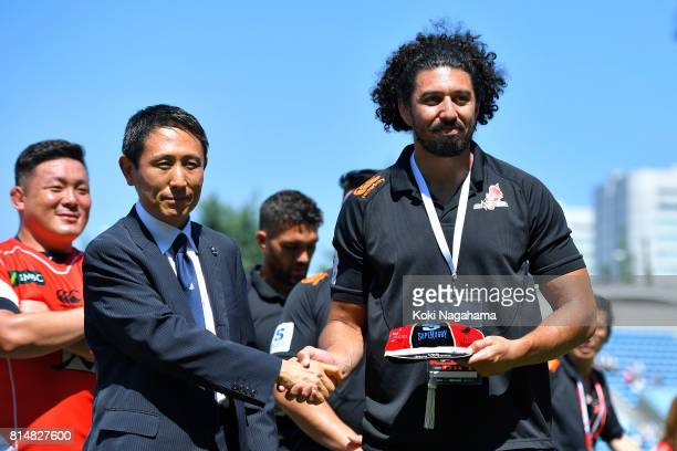 Sam Wykes of Sunwolves is awarded his 100th cap of Super rugby after winning the Super Rugby match between the Sunwolves and the Blues at Prince...