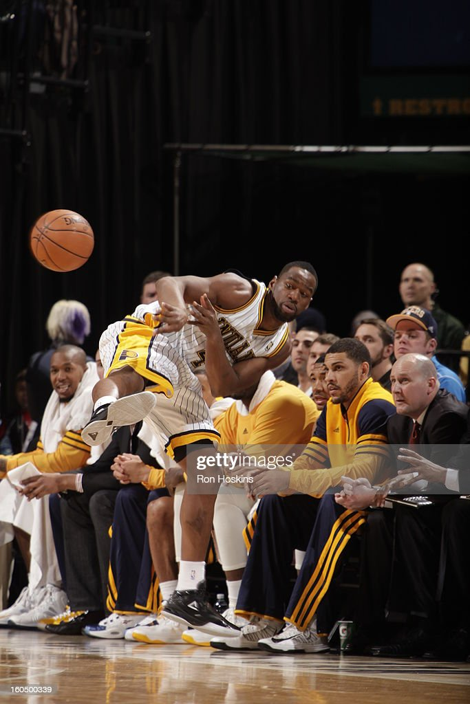 Sam Young #4 of the Indiana Pacers catches and throws the ball to another player while falling out of bounds against the Miami Heat on February 1, 2013 at Bankers Life Fieldhouse in Indianapolis, Indiana.