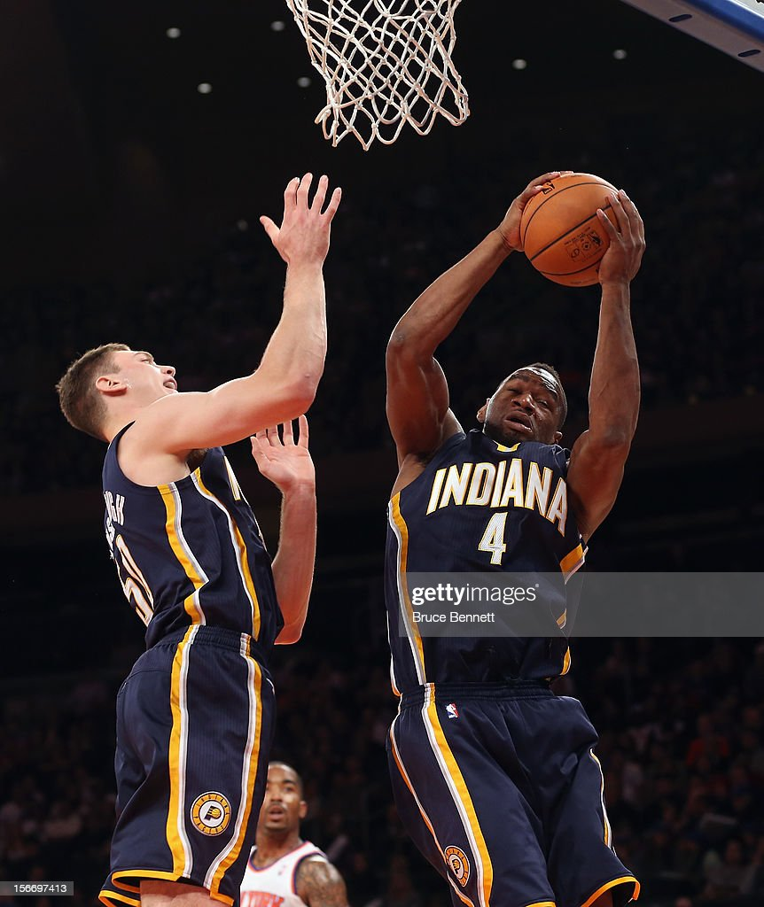 Sam Young #4 of the Indiana Pacers grabs a rebound against the New York Knicks at Madison Square Garden on November 18, 2012 in New York City.