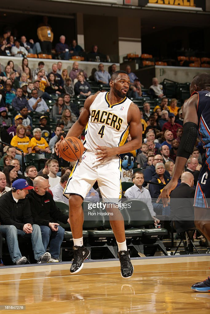 Sam Young #4 of the Indiana Pacers handles the ball against the Charlotte Bobcats on February 13, 2013 at Bankers Life Fieldhouse in Indianapolis, Indiana.