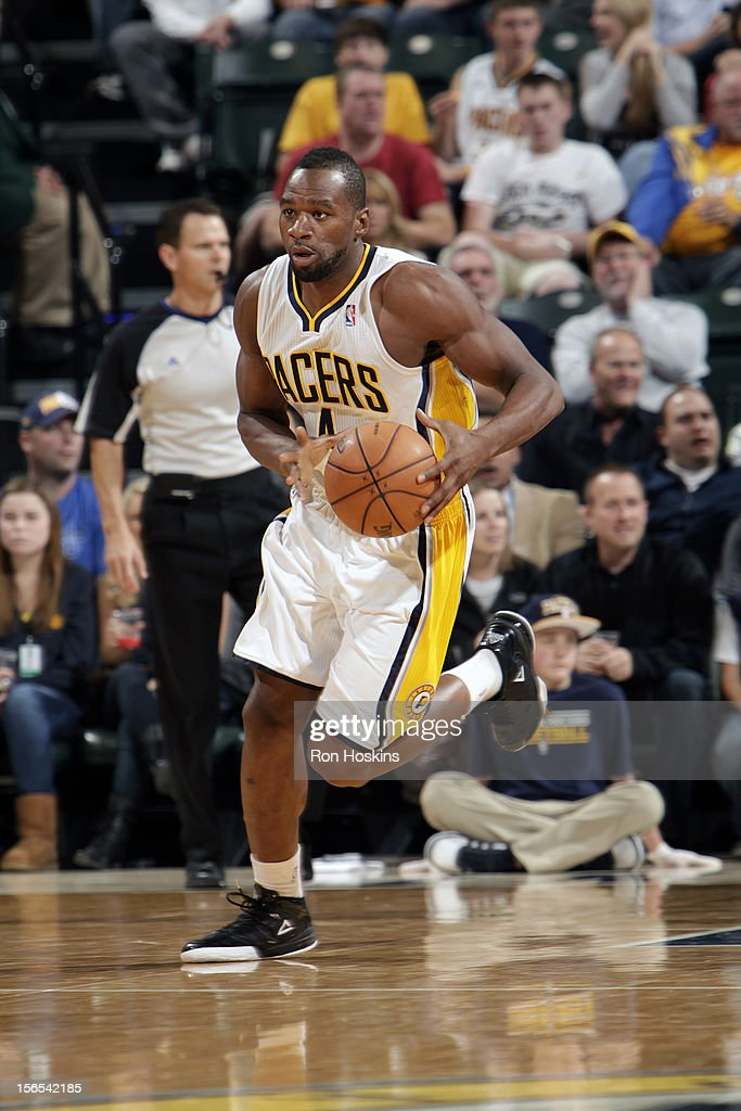 Sam Young #4 of the Indiana Pacers handles the ball against the Indiana Pacers on November 16, 2012 at Bankers Life Fieldhouse in Indianapolis, Indiana.