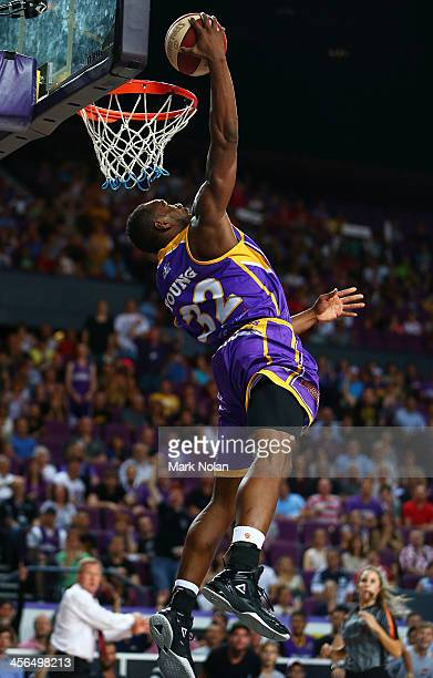 Sam Young of the Kings does a reverse dunk during the round 10 NBL match between the Sydney Kings and the Wollongong Hawks at Sydney Entertainment...