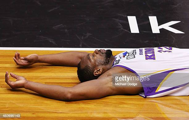 Sam Young of the Kings lays on the ground after a heavy collision during the round eight NBL match between the Melbourne Tigers and the Sydney Kings...