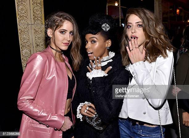 Sama Abu Khadra Janelle Monáe and Haya Abu Khadra attend the I Love Coco Backstage Beauty Lounge at Chateau Marmont's Bar Marmont on February 25 2016...