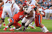 Samaje Perine of the Oklahoma Sooners scores a touchdown in the first quarter against the Clemson Tigers during the 2015 Capital One Orange Bowl at...