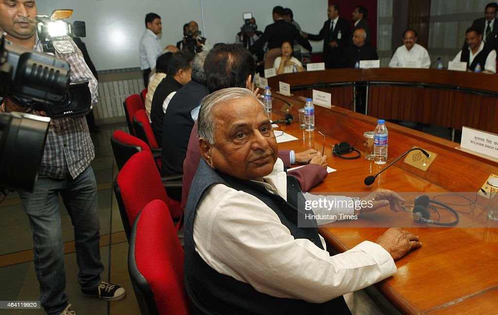 Samajwadi Party Chief Mulayam Singh and other leaders during the all-party meeting called by Loksabha Speaker Sumitra Mahajan ahead of Budget session to ensure smooth functioning of Parliament where opposition is set to target government on issues like corruption in defence deals, at Parliament Library on February 22, 2015 in New Delhi, India.