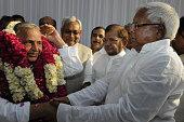 Samajwadi Party chief Mulayam Singh congratulated by RJD supremo Lalu Prasad and JD chief Sharad Yadav and Bihar Chief Minister Nitish Kumar after...