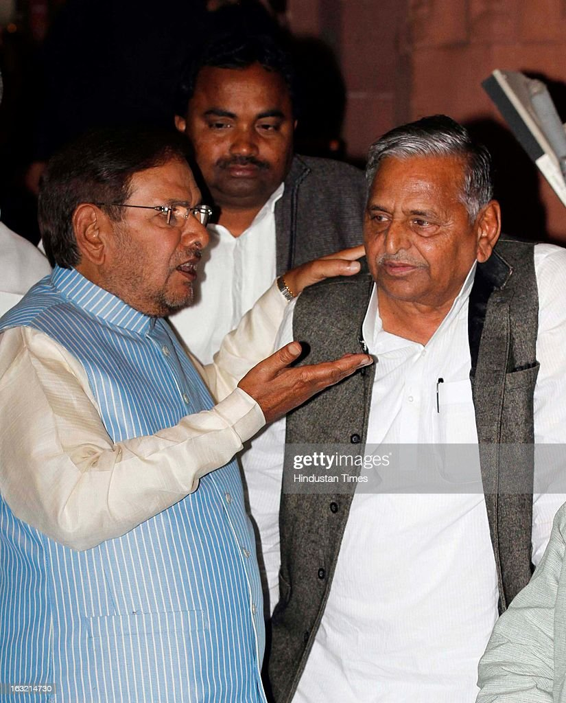 Samajwadi Party Chief Mulayam Singh with JD ( U ) Leader Sharad Yadav at Parliament house after Prime Minister's Speech on March 6, 2013 in New Delhi, India. In his speech in the Lok Sabha the PM Manmohan Singh today hit out at BJP for trying to belittle UPA government's achievements saying the party will fail at the hustings next year like it did in 2004 and 2009.