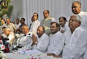 Samajwadi Party chief Mulayam Singh with RJD supremo Lalu Prasad JDS chief HD Devegowda and JD chief Sharad Yadav and Bihar Chief Minister Nitish...